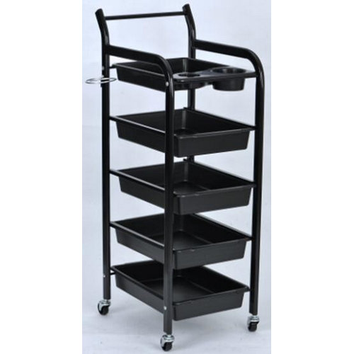 Used beauty salon trolley with 5 trays / barber shop storage rolling cart