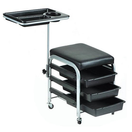 Portable Pedicure Manicure Nail Cart Trolley Stool Chair Salon SPA With Shelves