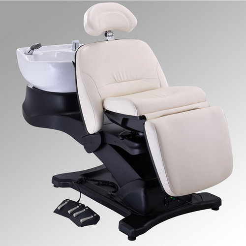 Electric hair salon folding adjustable shampoo chair massage backwash bed with bowls