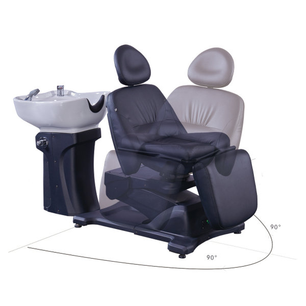 Salon Beauty Electric Hair Shampoo Backwash Bed Massage Chairs with Basin