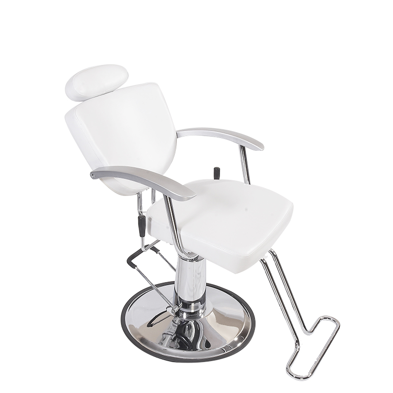 United Kingdom White Leather Unique Reclining Barber Shop Hydraulic Styling Makeup Chair