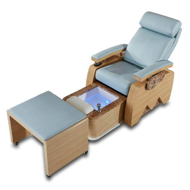 Wood Lay Down Spa Nail Pedicure Chair Massage Station