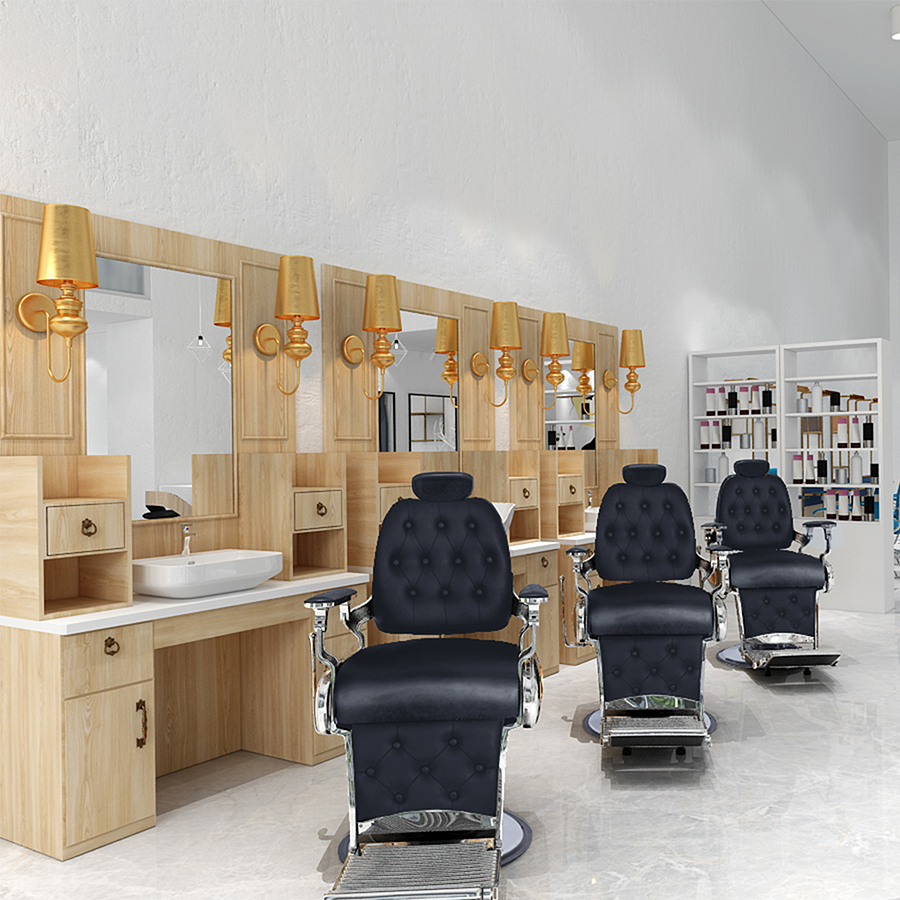 Barber shop styling station wooden salon mirror counter