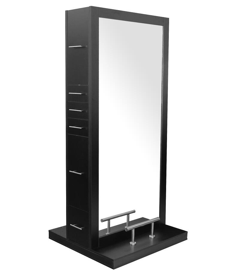 Double sided salon cabinet barber mirror styling station with led light