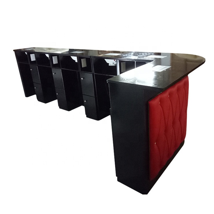 Modern long double nail desk station bar manicure table customized salon furniture
